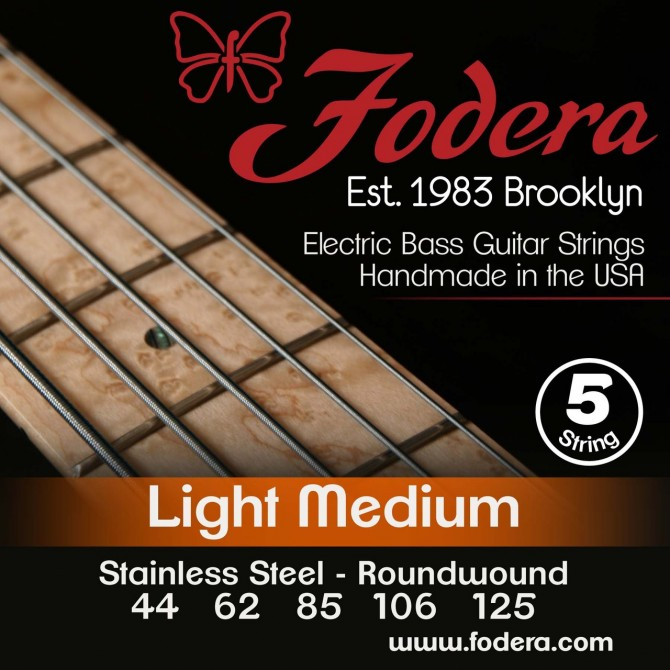 Fodera 44125S Stainless Steel 5 String Light Medium (44 - 62 - 85 - 106 - 125) Long Scale