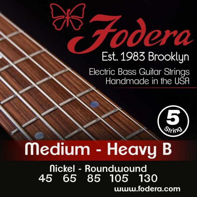 Fodera 45130N-XL Nickel 5 String Medium (45 - 65 - 85 - 105 - 130) Extra Long Scale