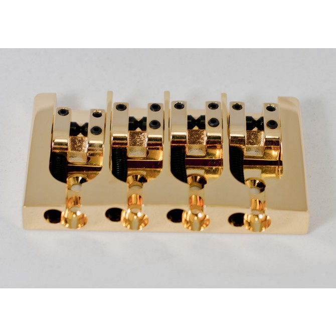 Hipshot AStyle 4String .750 Bass Bridge Brass Gold 19mm spacing