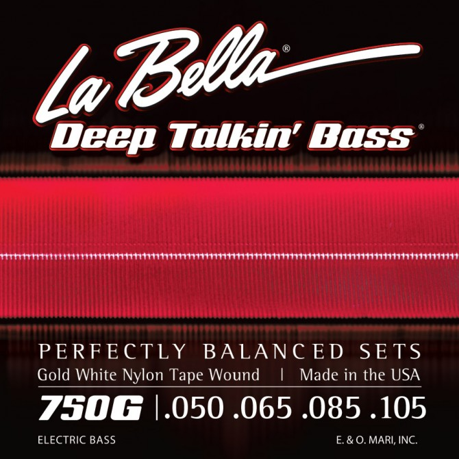 Labella 750G-B Gold White Nylon Tapewound 5 String Light (50 - 65 - 85 - 105 - 135) Long Scale