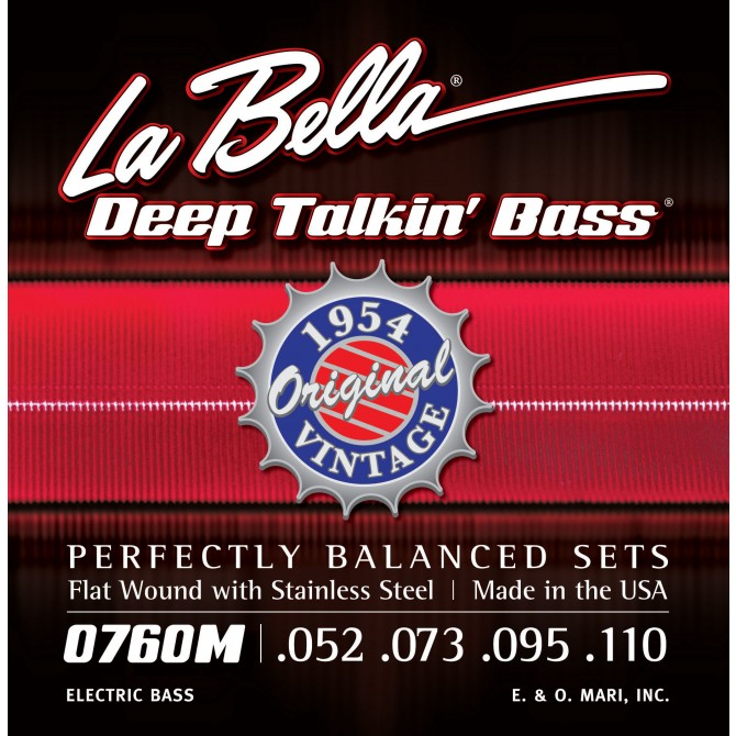 Labella 760M-XL Deep Talkin' Bass Flatwound 1954 4 String Original (54 - 73 - 95 - 110) Extra Long Scale
