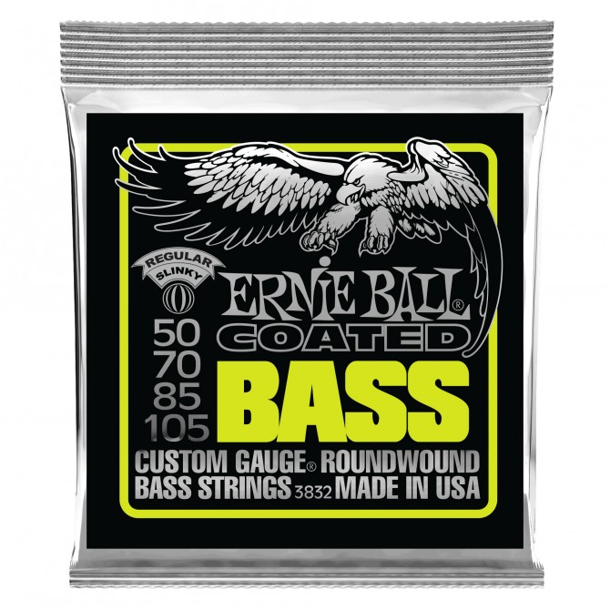 Ernie Ball Regular Slinky Coated Electric Bass Strings - 50-105 Gauge