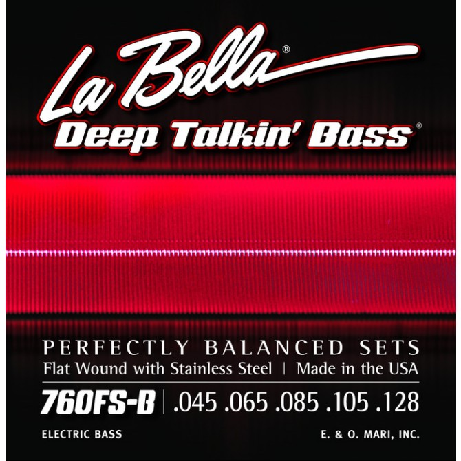 Labella 760FS-B-M Deep Talkin' Bass Flatwound 5 String Standard (45 - 65 - 85 - 105 - 128) Medium Scale