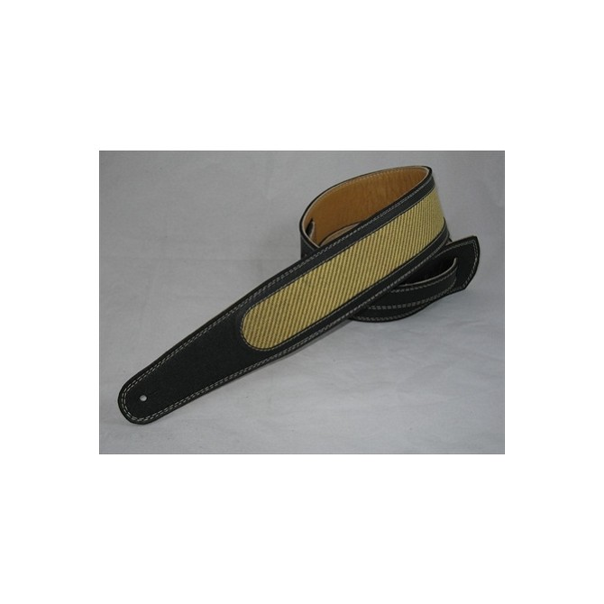 Pete Schmidt Artisan Series Yellow Tweed in Black Leather Bass Guitar Strap