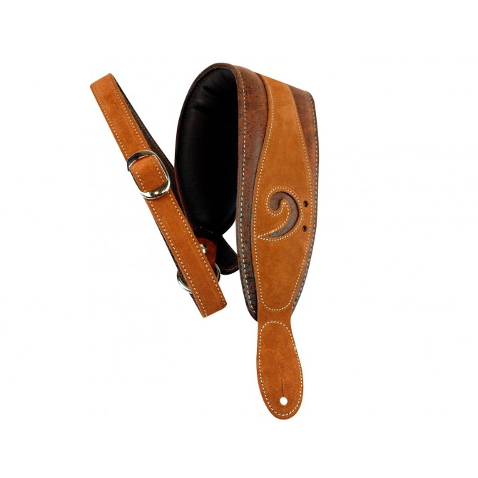 LM Bass Guitar Strap - Distressed Suede on Brown Leather