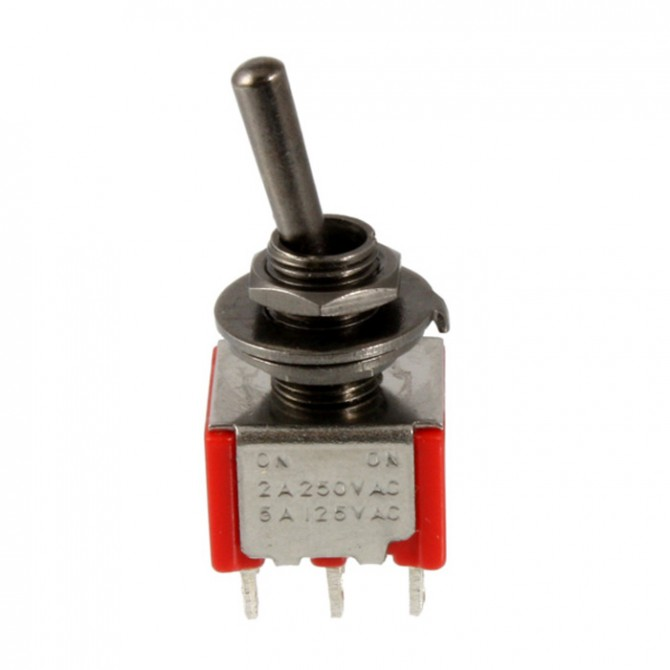 3-Way On-On-On Black Chrome Round Bat Mini Switch