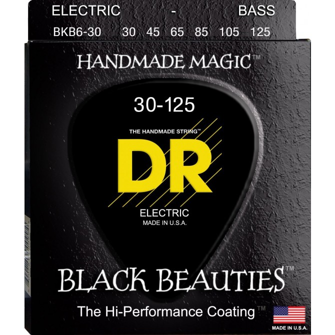 DR Strings BKB6-30, 6 String, Black Beauties, Extra-Life (30, 45, 65, 85, 105, 125)