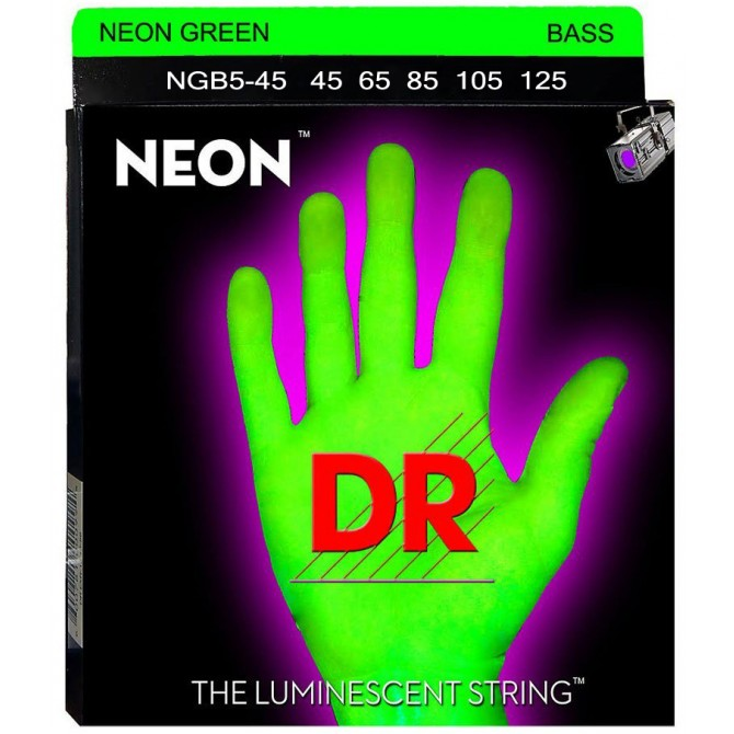 DR NGB5-45 Neon Hi Def Green 5 String Medium (45 - 65 - 85 - 105 - 125) Long Scale
