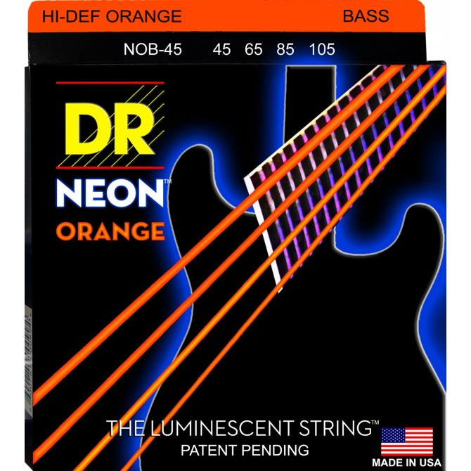 DR NOB-45 Neon Hi Def Orange 4 String Medium (45 - 65 - 85 - 105) Long Scale