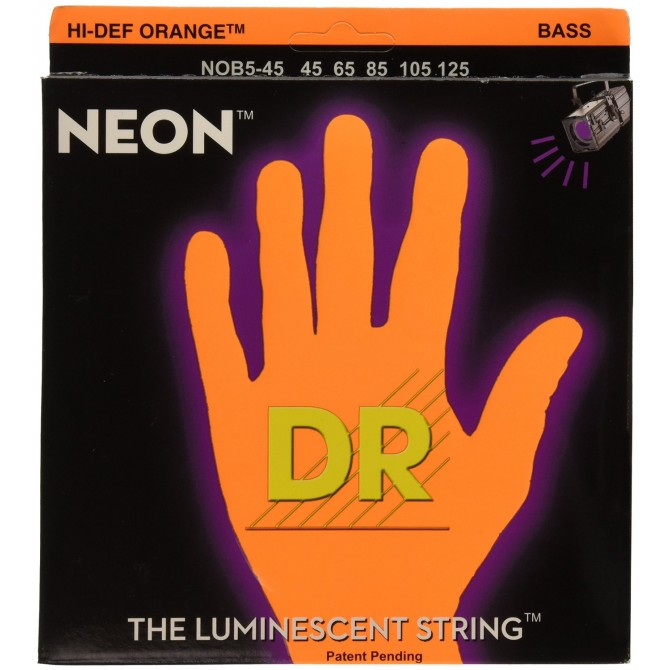 DR NOB5-45 Neon Hi Def Orange 5 String Medium (45 - 65 - 85 - 105 - 125) Long Scale