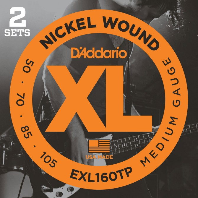 Daddario EXL160TP Nickel Wound Twin Pack 4 String Medium (50 - 70 - 85 - 105) Long Scale