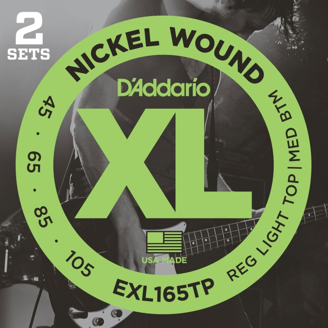 Daddario EXL165TP Nickel Wound Twin Pack 4 String Custom Light (45 - 65 - 85 - 105) Long Scale