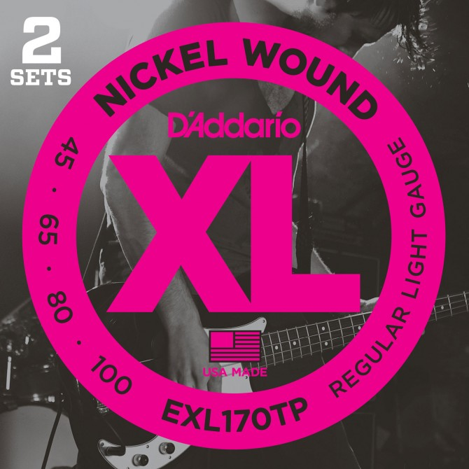 Daddario EXL170TP Nickel Wound Twin Pack 4 String Light (45 - 65 - 80 - 100) Long Scale