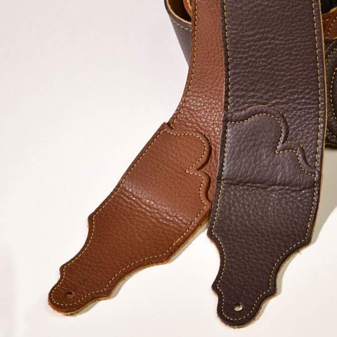 "Franklin Original Natural Glove Leather Caramel 3"" Strap with Gold Stitch"