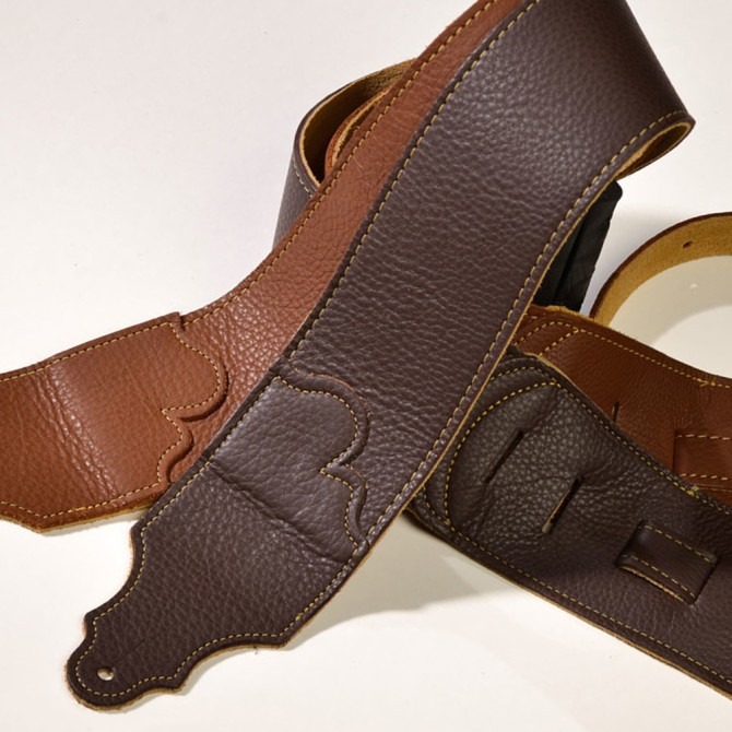 """Franklin Original Natural Glove Leather Chocolate 3"""" Strap with Gold Stitch"""