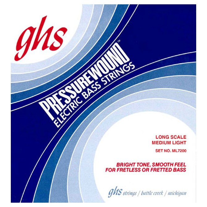 GHS ML7200 Pressurewound 4 String Medium Light (44 - 58 - 80 - 102) Long Scale