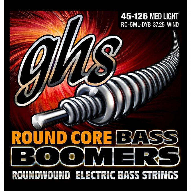 GHS RC-5ML-DYB Round Core Bass Boomers 5 String Medium Light (45 - 65 - 80 - 100 - 126) Long Scale