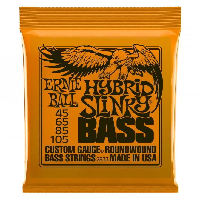 Ernie Ball Hybrid Super Slinky Nickel Wound Electric Bass Strings - 45-105 Gauge