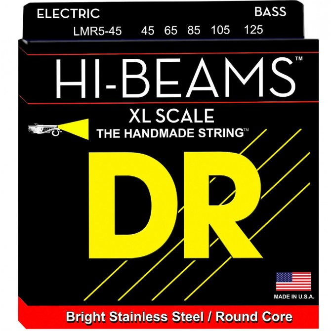 DR Strings LMR5-45 Hi Beam 5 String Stainless Medium (45 - 65 - 85 - 105 - 125) X-Long Scale