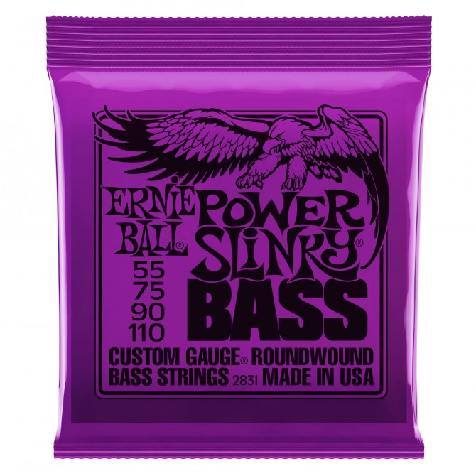 Ernie Ball Power Super Slinky Nickel Wound Electric Bass Strings - 55-110 Gauge