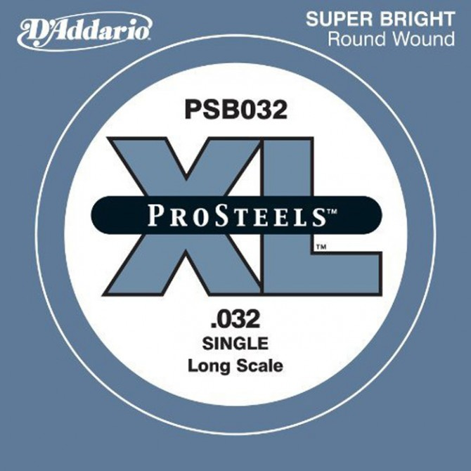 D'Addario PSB032, Single String, ProSteel, Long scale (32)