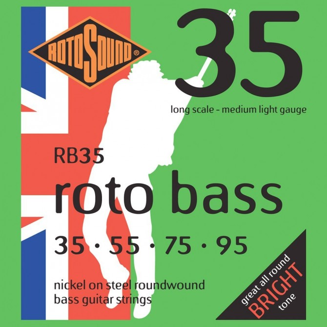 Rotosound RB35 Roto Bass 4 String Medium Light (35 - 55 - 75 - 95) Long Scale