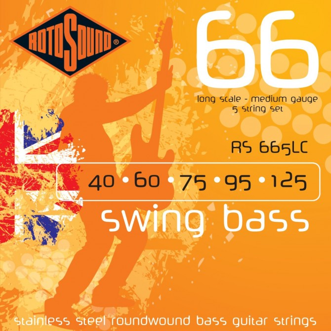 Rotosound RS665LC Swing Bass 66 Stainless 5 String Medium (40 - 60 - 75 - 95 - 125) Long Scale
