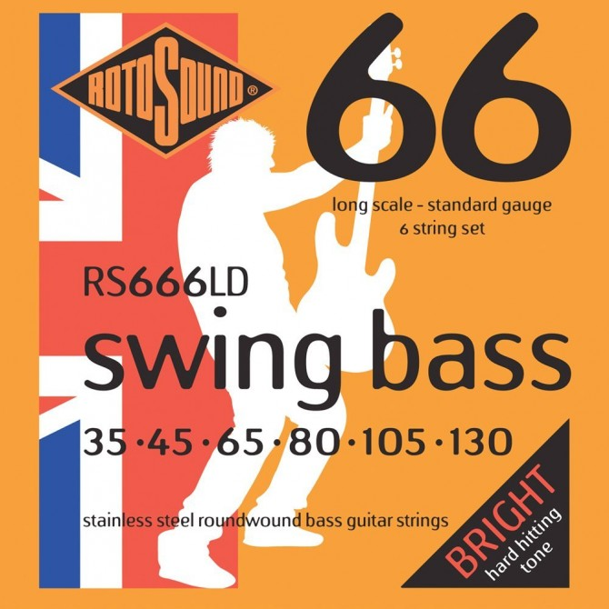 Rotosound RS666LD Swing Bass 66 Stainless 6 String Standard (35 - 45 - 65 - 80 - 105 - 130) Long Scale