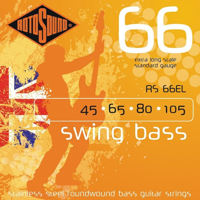 RotoSound RS66EL Swing Bass 66 Stainless 4 String Standard (45 - 65 - 80 - 105) Extra Long Scale