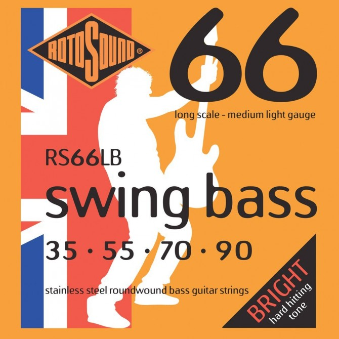 Rotosound RS66LB Swing Bass 66 Stainless 4 String Medium Light (35 - 55 - 70 - 90) Long Scale