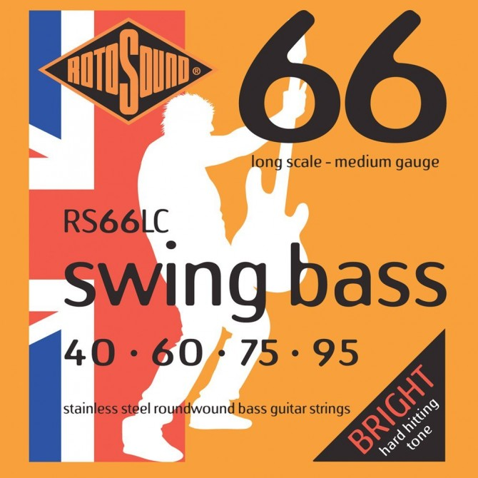 Rotosound RS66LC Swing Bass 66 Stainless 4 String Medium (40 - 60 - 75 - 95) Long Scale