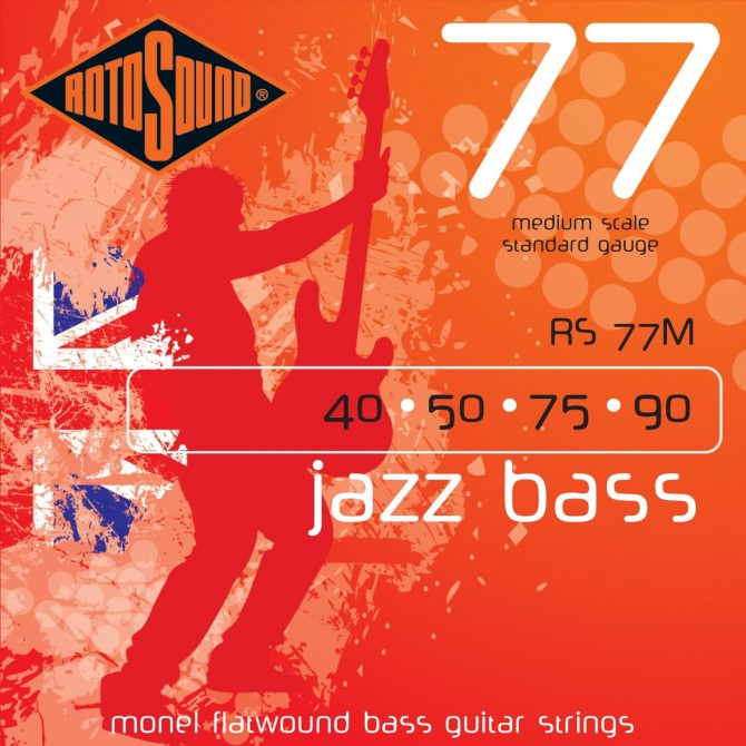 Rotosound RS77M Jazz Bass 77 Monel Flatwound 4 String Standard (40 - 50 - 75 - 90) Medium Scale