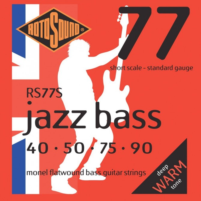 Rotosound RS77S Jazz Bass 77 Monel Flatwound 4 String Standard (40 - 50 - 75 - 90) Short Scale