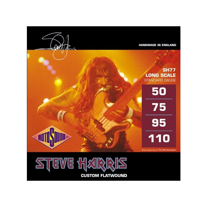 Rotosound SH77 Jazz Bass 77 Monel Flatwound Steve Harris Signature 4 String (50 - 75 - 95 - 110) Long Scale
