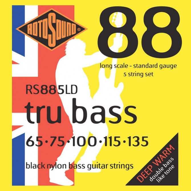 RotoSound RS885LD Tru Bass 88 Black Nylon Tapewound 5 String Standard (65 - 75 - 100 - 115 - 135) Long Scale
