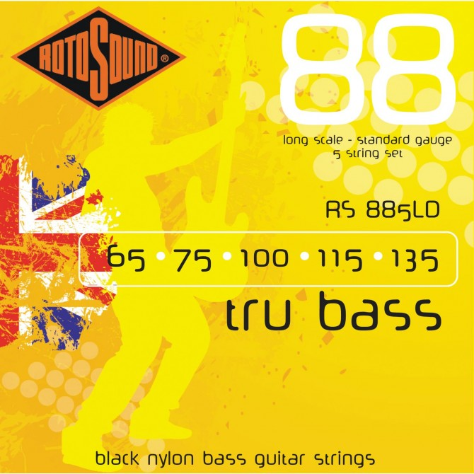 Rotosound RS886LD Tru Bass 88 Black Nylon Tapewound 6 String Standard (50 - 65 - 75 - 100 - 115 - 135) Long Scale