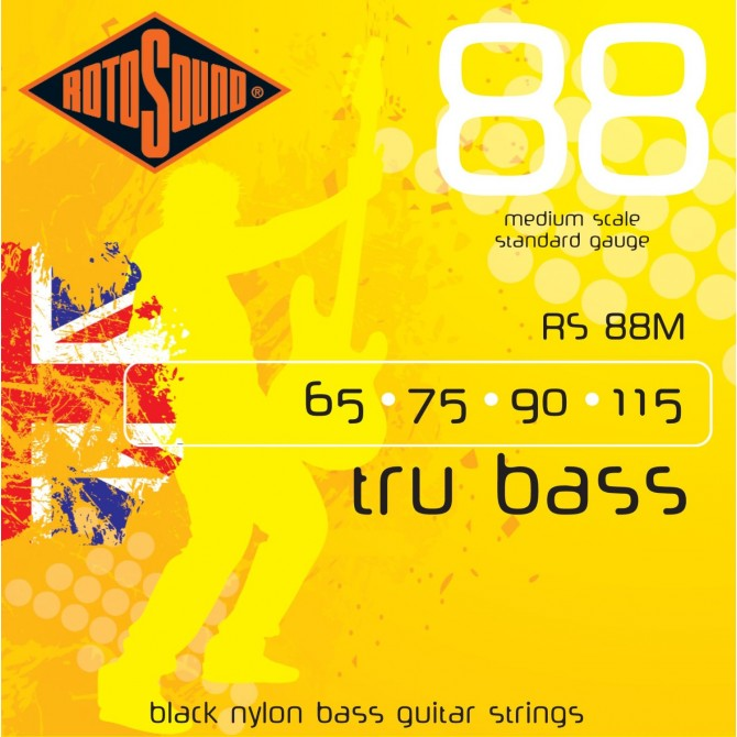 Rotosound RS88M Tru Bass 88 Black Nylon Tapewound 4 String Standard (60 - 75 - 90 - 115) Medium Scale