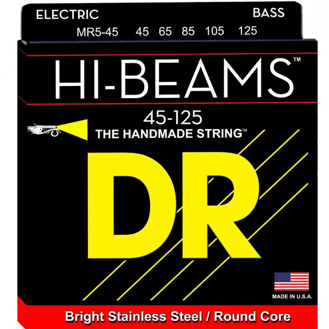 DR Strings SMR5-45 Hi Beam 5 String Stainless Medium (45 - 65 - 85 - 105 - 125) Short Scale