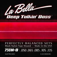 Labella 750N-B-XL Black Nylon Tapewound 5 String Light (50 - 65 - 85 - 105 - 135) Extra Long Scale