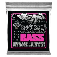 Ernie Ball Super Slinky Coated Electric Bass Strings - 45-100 Gauge